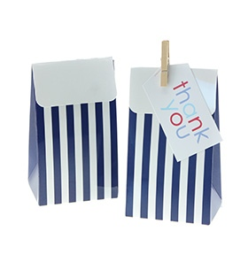 Navy Blue Stripe Treat Boxes