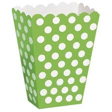 Lime Green Polkadot Popcorn Boxes