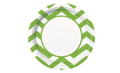 Lime Green Chevron Dinner Plates