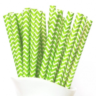 Lime Chevron Straws