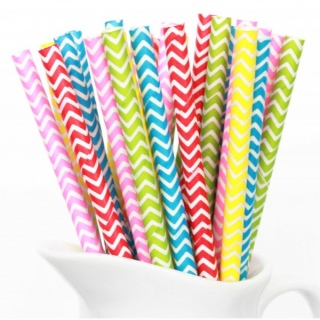 Rainbow Chevron Straws