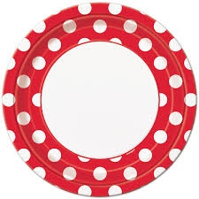 Red Polka Dot Dinner Plates 8