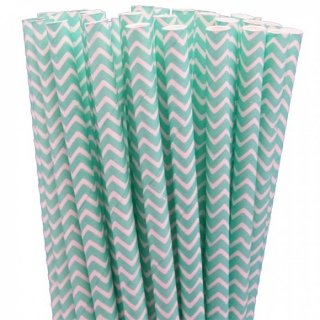 Teal Chevron Straws